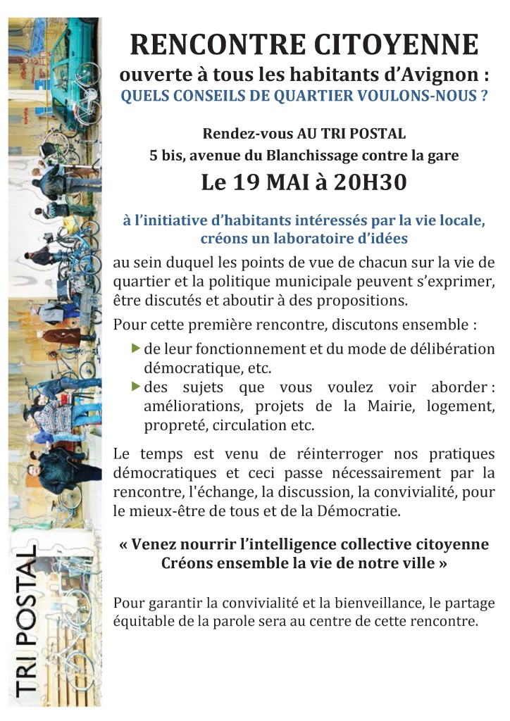 conseils de quartiers Avignon- Rencontre du 19 mai au TRI POSTAL.  v2-1