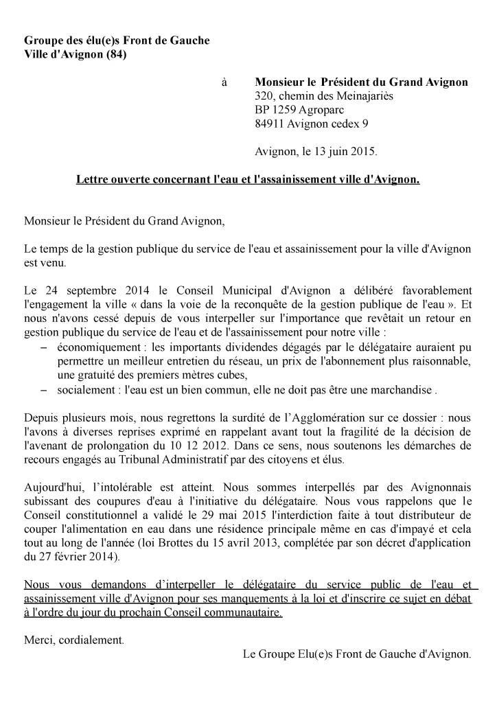 2015-06-13 lettre ouverte du Front de Gauche au Président du Grand Avignon - le 13 juin 2015