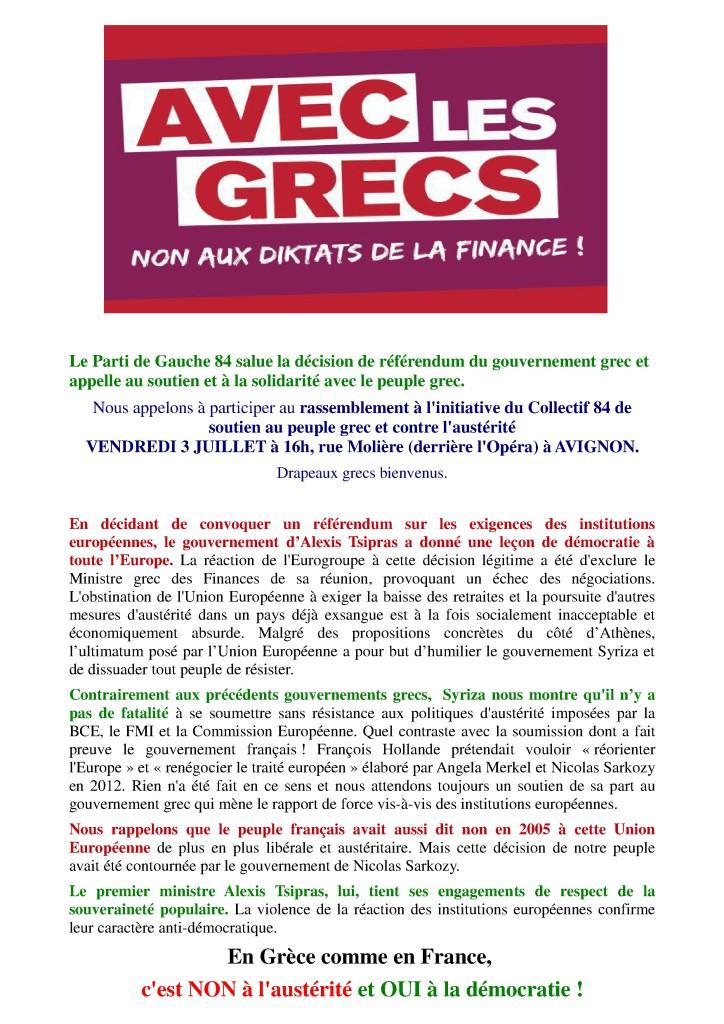 Déclaration PG84  Grèce et appel 3 juillet